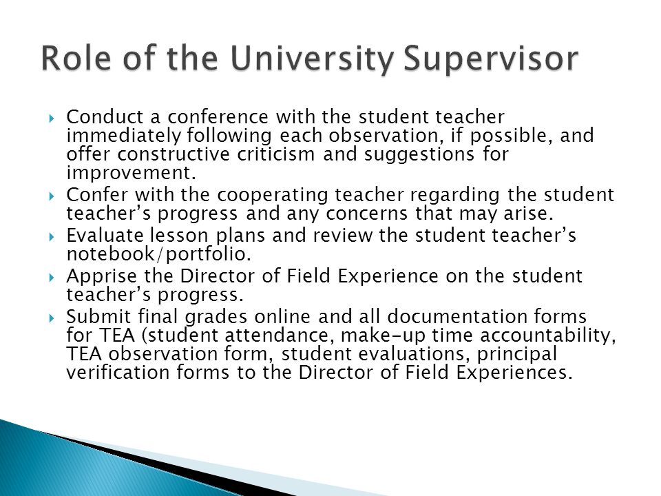 Role of the University Supervisor
