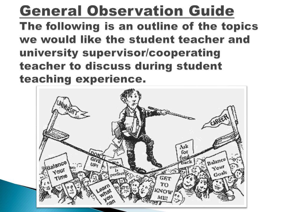General Observation Guide The following is an outline of the topics we would like the student teacher and university supervisor/cooperating teacher to discuss during student teaching experience.
