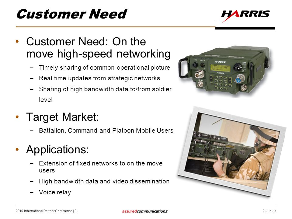 Customer Need Customer Need: On the move high-speed networking