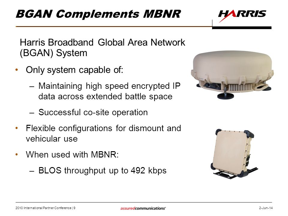 BGAN Complements MBNR Harris Broadband Global Area Network (BGAN) System. Only system capable of: