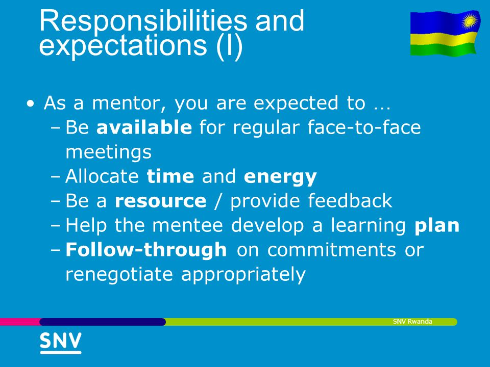 Responsibilities and expectations (I)