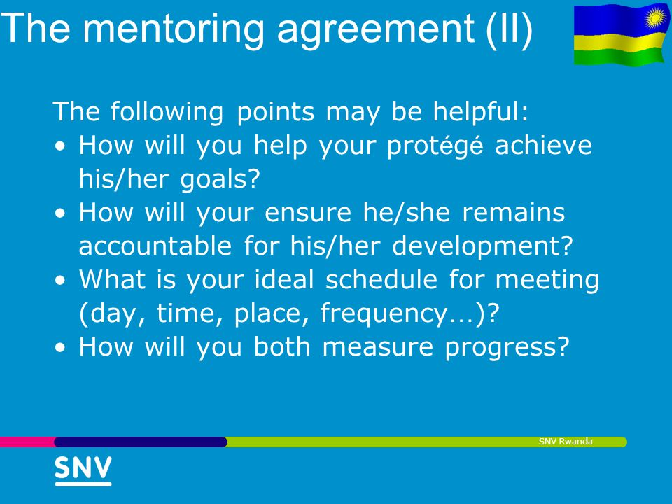 The mentoring agreement (II)