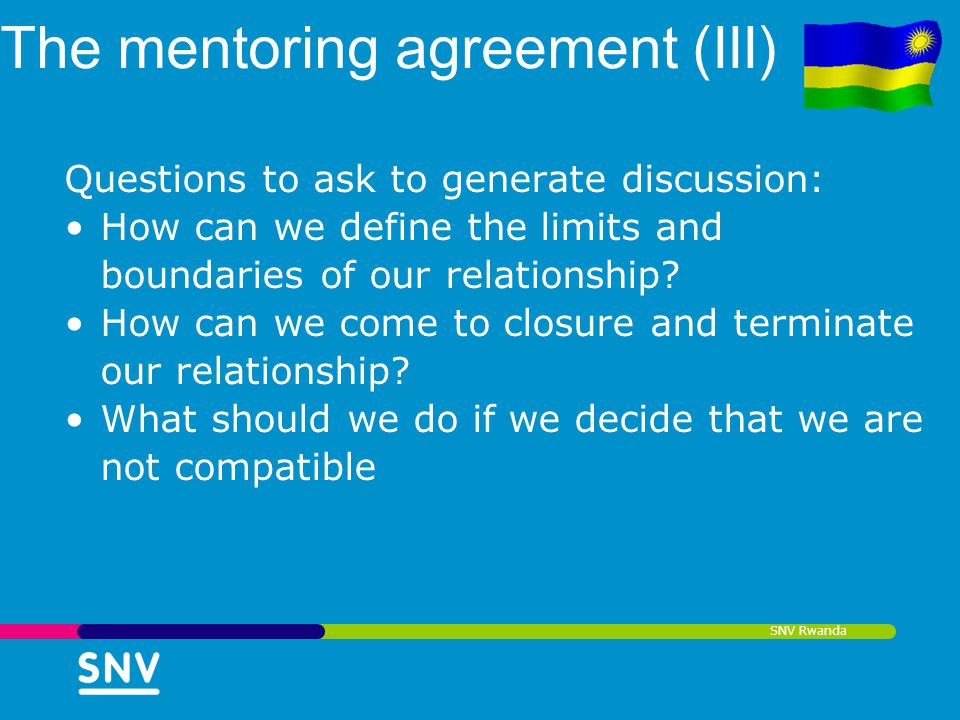 The mentoring agreement (III)