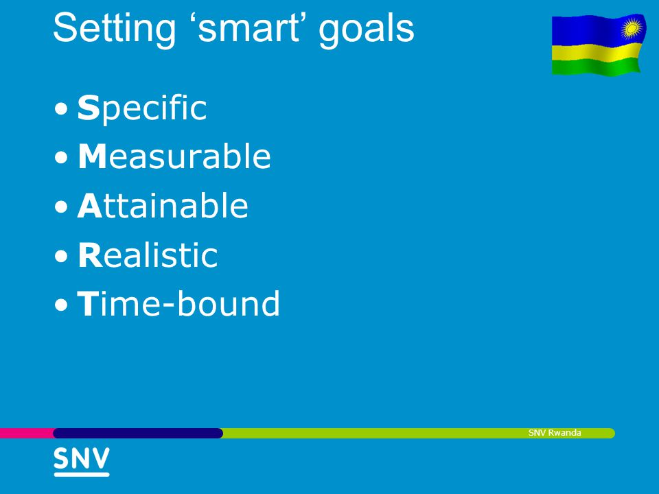 Setting 'smart' goals Specific Measurable Attainable Realistic