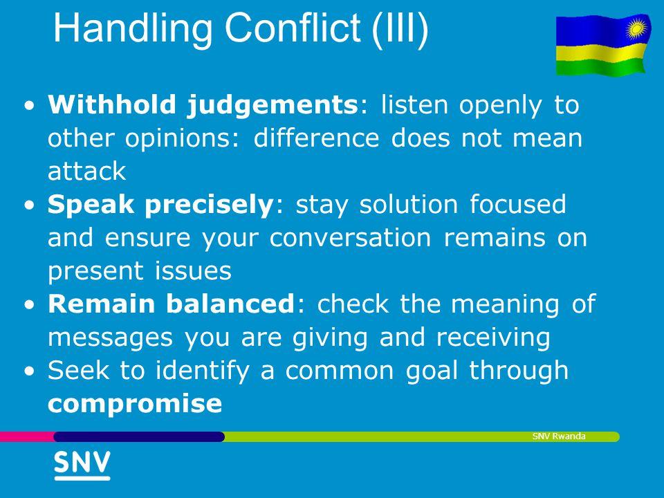 Handling Conflict (III)