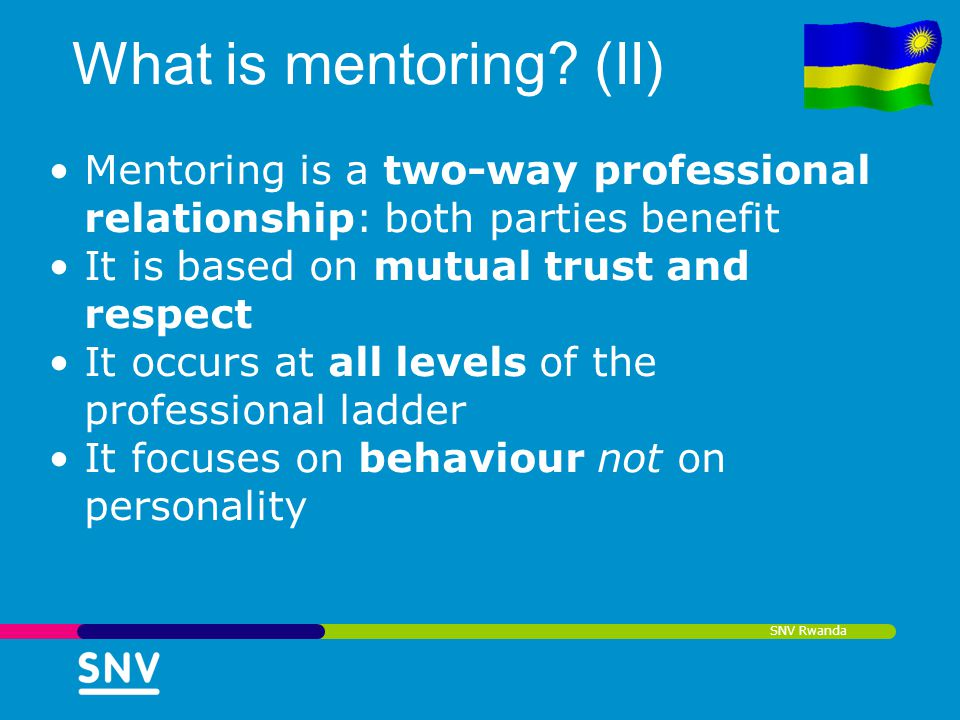What is mentoring (II) Mentoring is a two-way professional relationship: both parties benefit. It is based on mutual trust and respect.