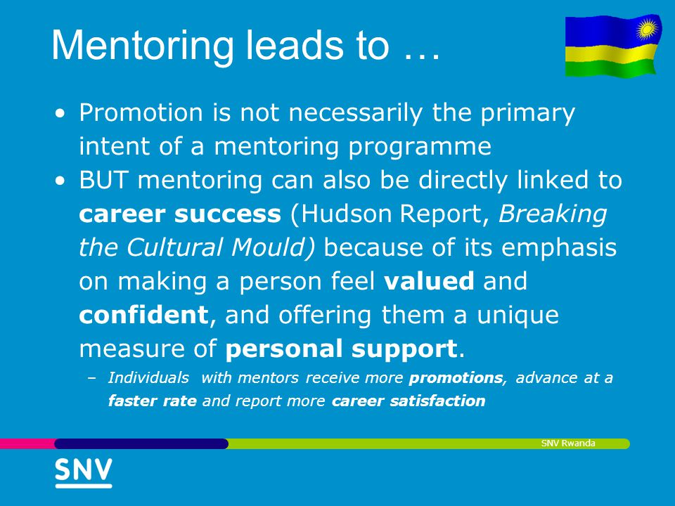 Mentoring leads to … Promotion is not necessarily the primary intent of a mentoring programme.