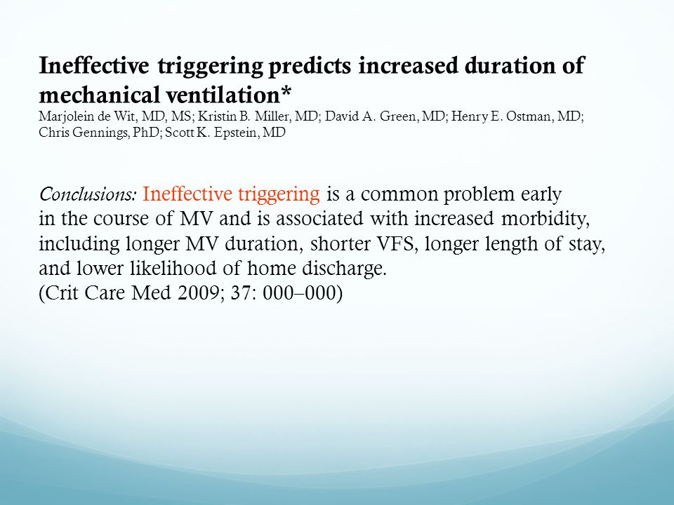 Ineffective triggering predicts increased duration of mechanical ventilation*
