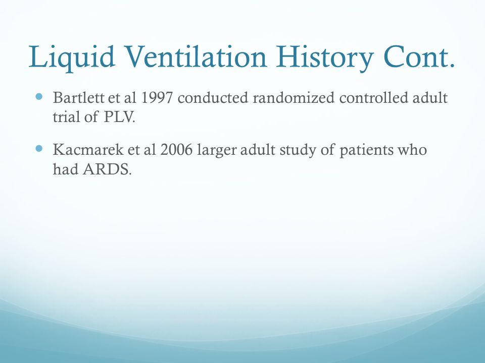 Liquid Ventilation History Cont.