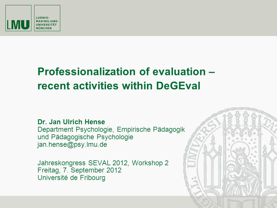 Professionalization of evaluation – recent activities within DeGEval