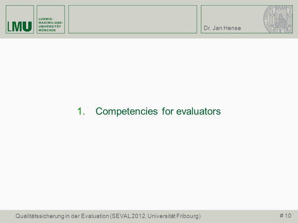 Competencies for evaluators
