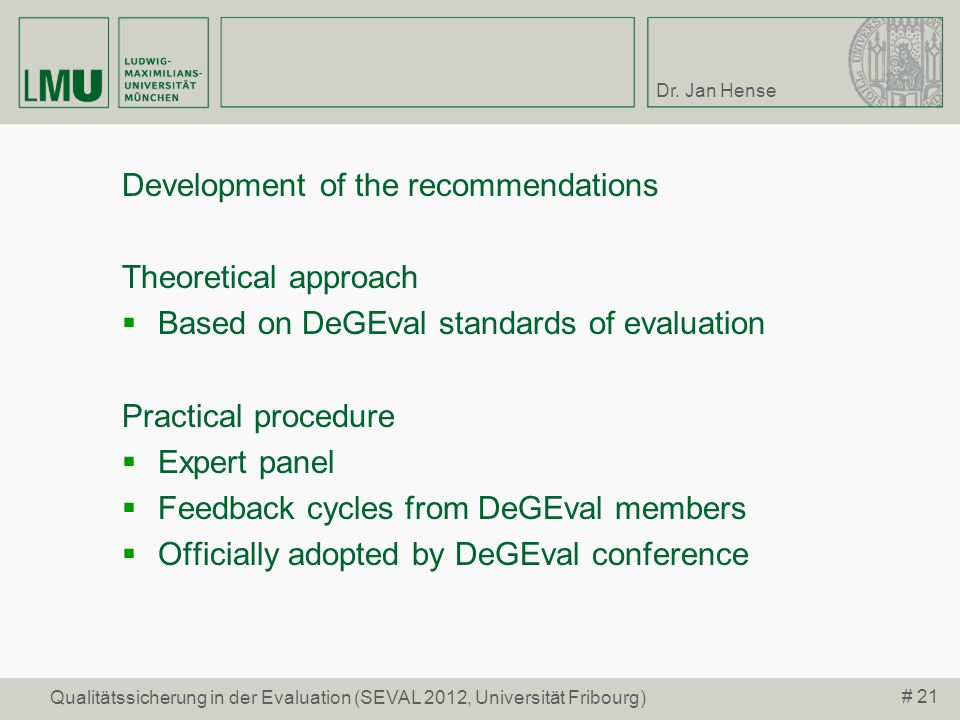 Development of the recommendations Theoretical approach