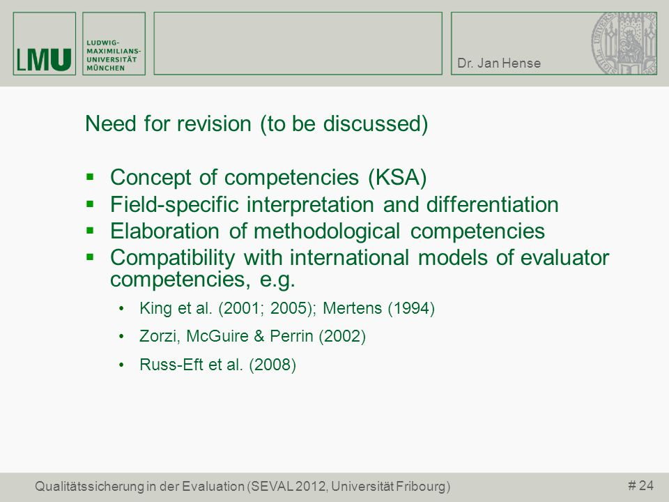 Need for revision (to be discussed) Concept of competencies (KSA)