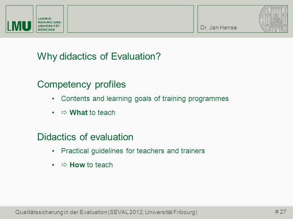 Why didactics of Evaluation Competency profiles