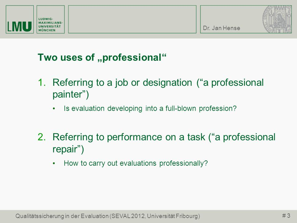 "Two uses of ""professional"