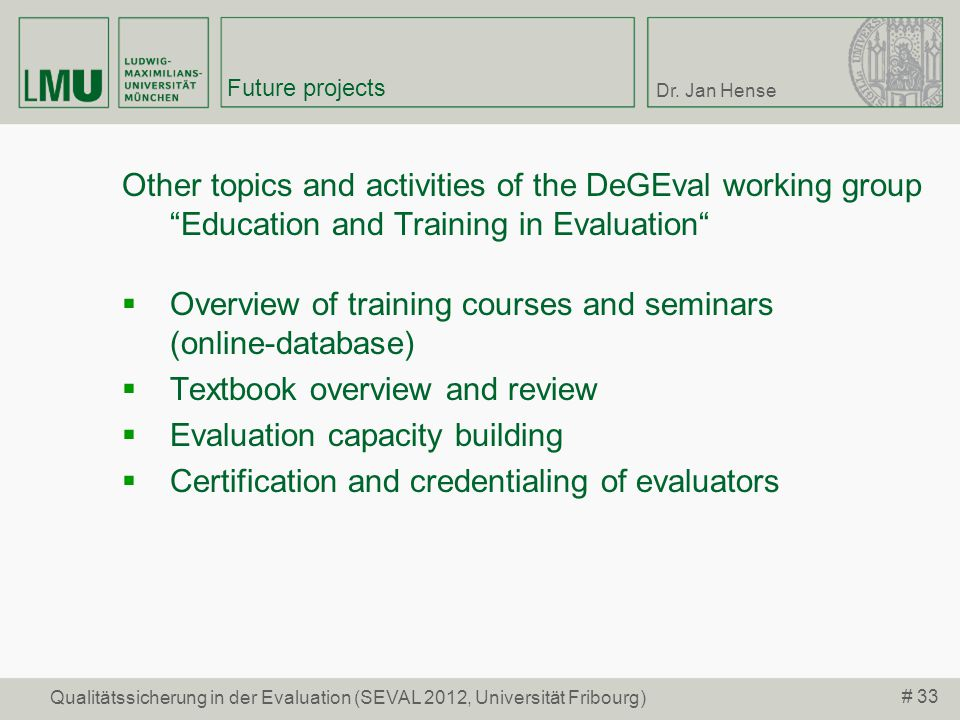 Overview of training courses and seminars (online-database)