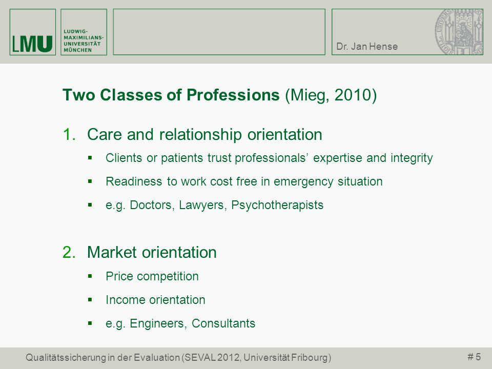 Two Classes of Professions (Mieg, 2010)