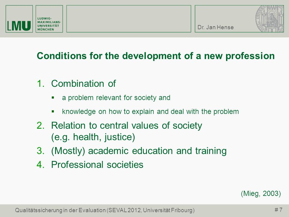 Conditions for the development of a new profession Combination of