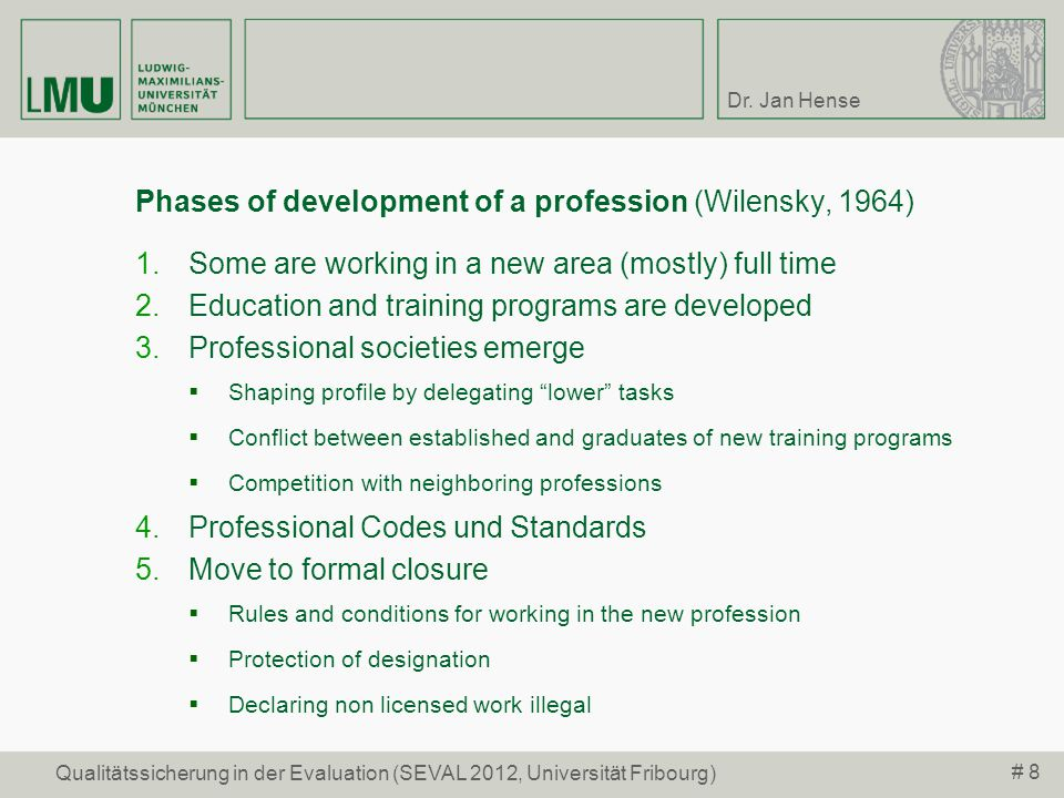Phases of development of a profession (Wilensky, 1964)