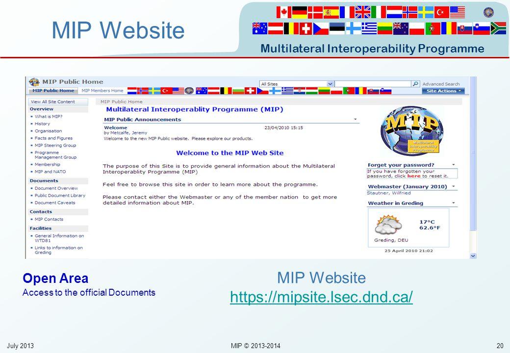MIP Website https://mipsite.lsec.dnd.ca/