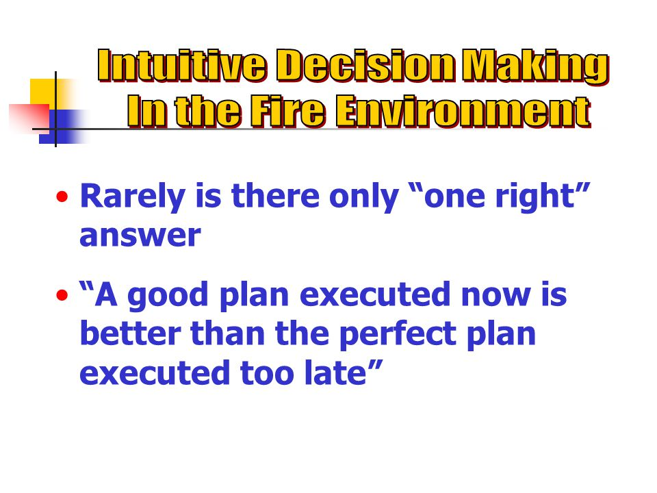 Intuitive Decision Making In the Fire Environment