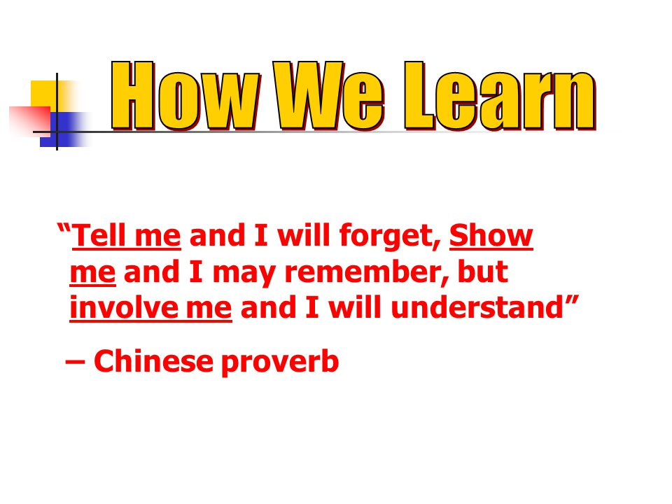 How We Learn Tell me and I will forget, Show me and I may remember, but involve me and I will understand