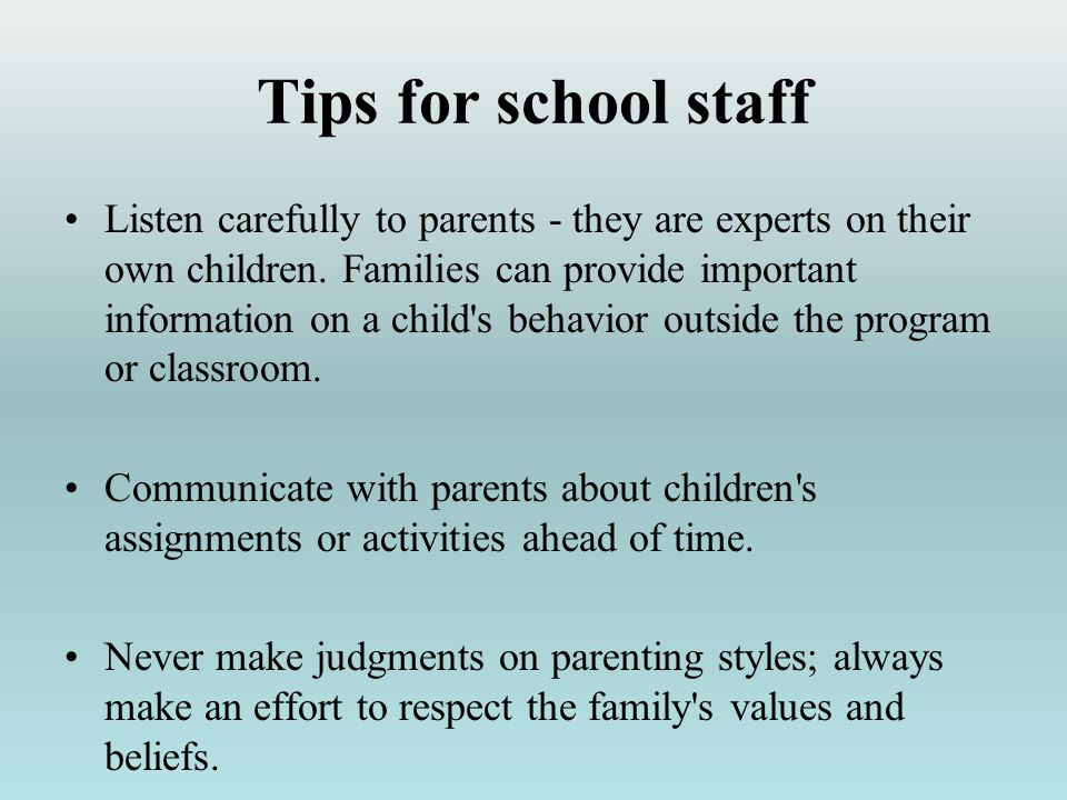 Tips for school staff