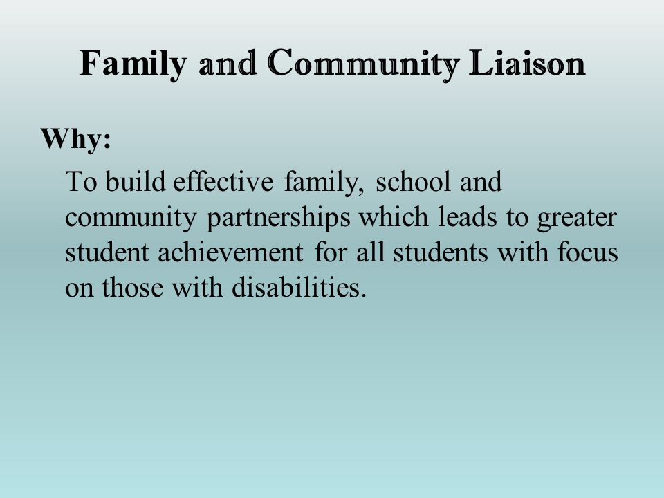 Family and Community Liaison