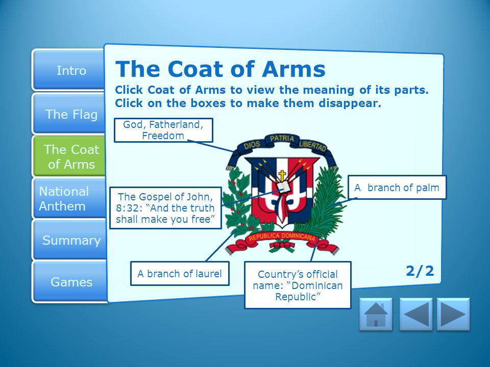 The Coat of Arms Click Coat of Arms to view the meaning of its parts. Click on the boxes to make them disappear.
