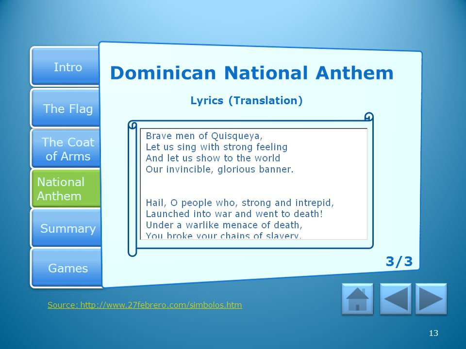Dominican National Anthem