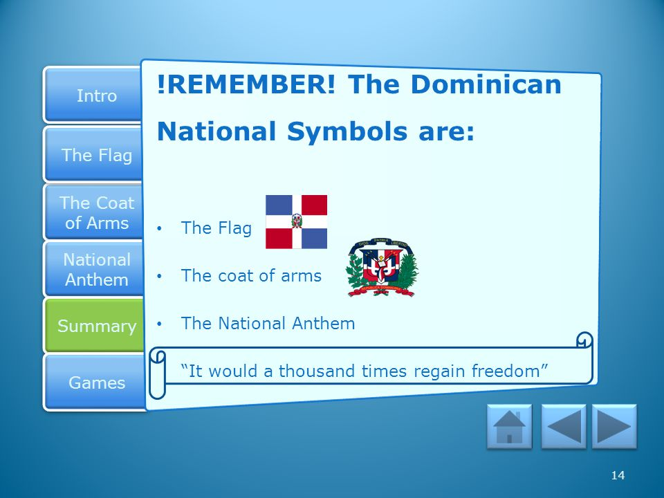 !REMEMBER! The Dominican National Symbols are: