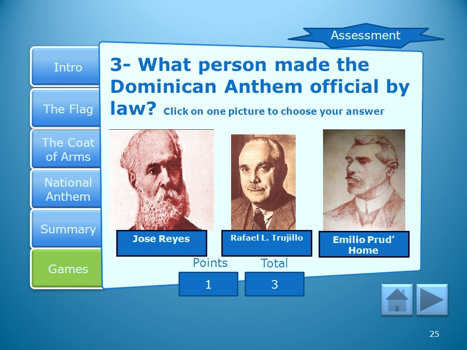 Assessment 3- What person made the Dominican Anthem official by law Click on one picture to choose your answer.