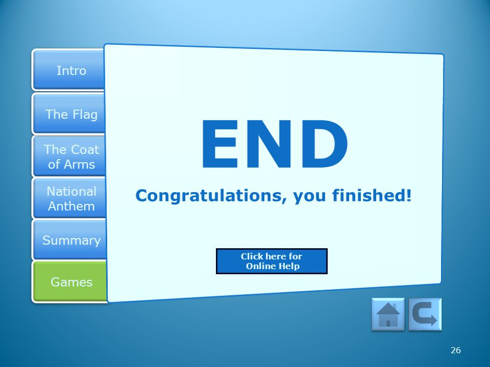 Congratulations, you finished!