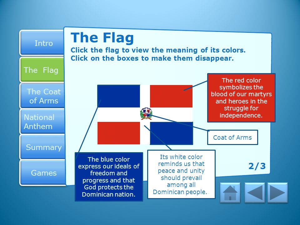 The Flag Click the flag to view the meaning of its colors. Click on the boxes to make them disappear.