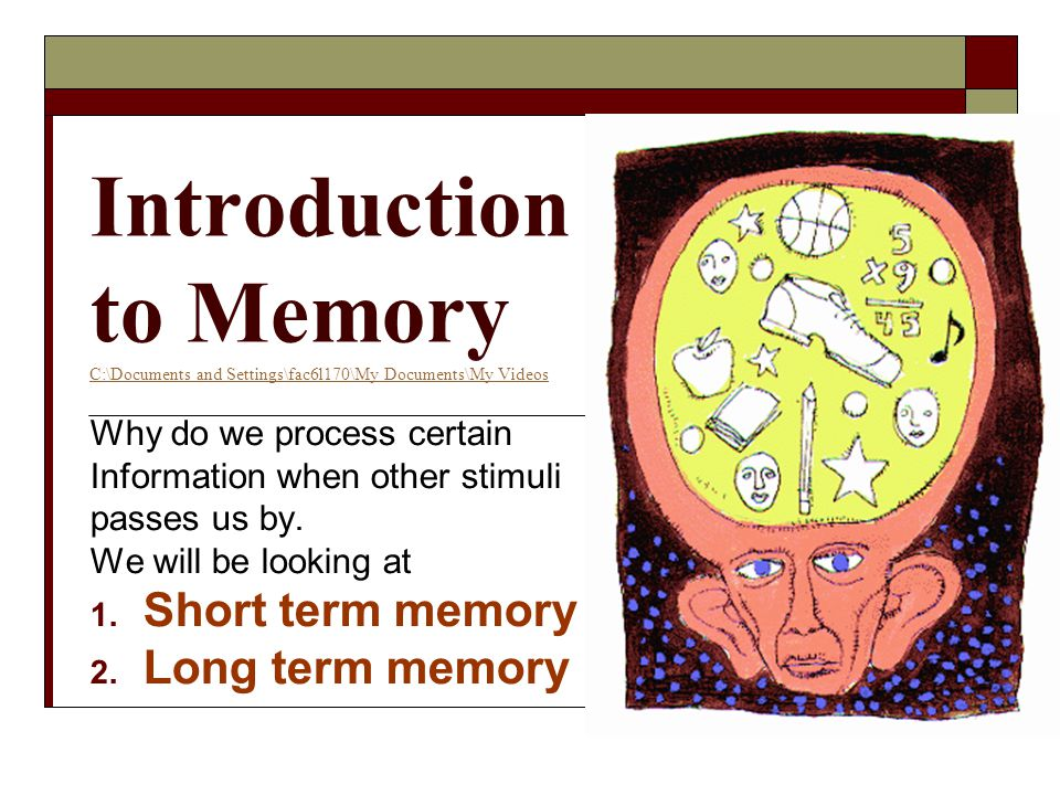 Introduction to Memory C:\Documents and Settings\fac6l170\My Documents\My Videos