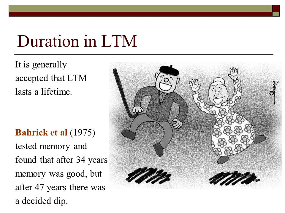 Duration in LTM It is generally accepted that LTM lasts a lifetime.