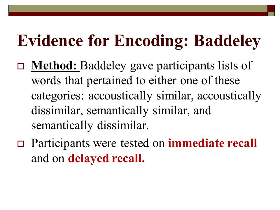 Evidence for Encoding: Baddeley