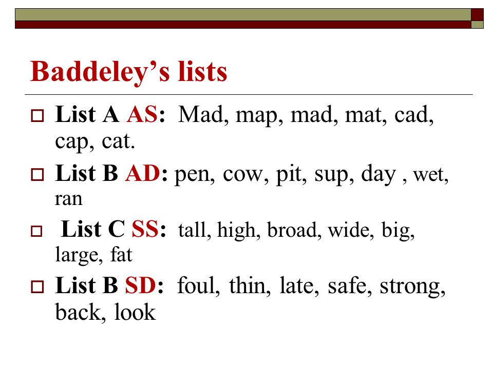 Baddeley's lists List A AS: Mad, map, mad, mat, cad, cap, cat.