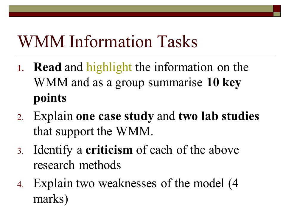 WMM Information Tasks Read and highlight the information on the WMM and as a group summarise 10 key points.