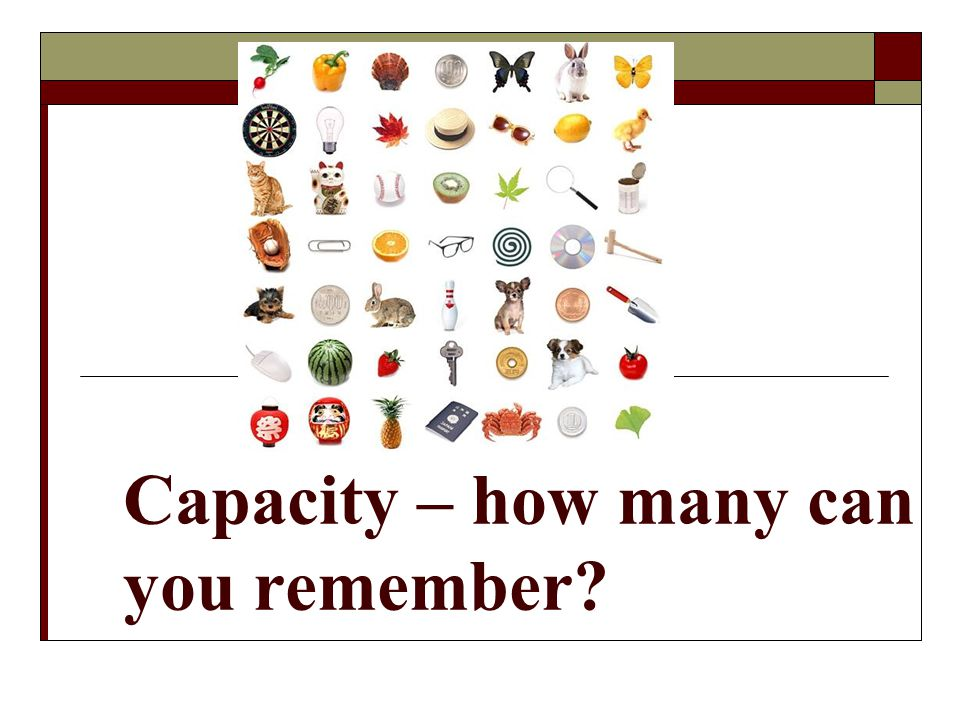 Capacity – how many can you remember