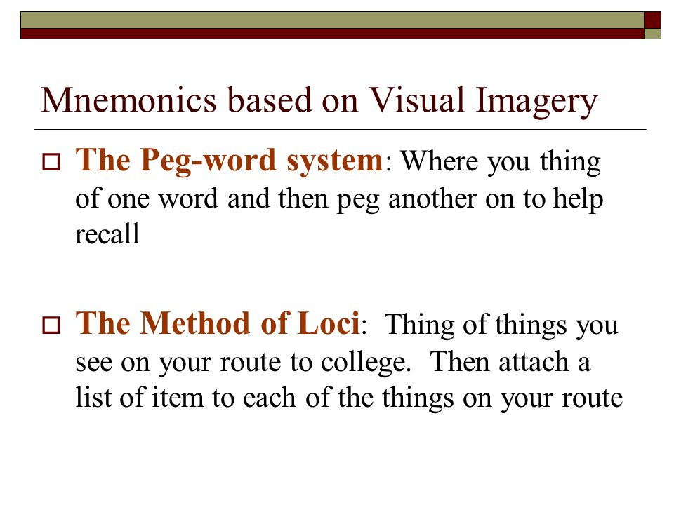 Mnemonics based on Visual Imagery
