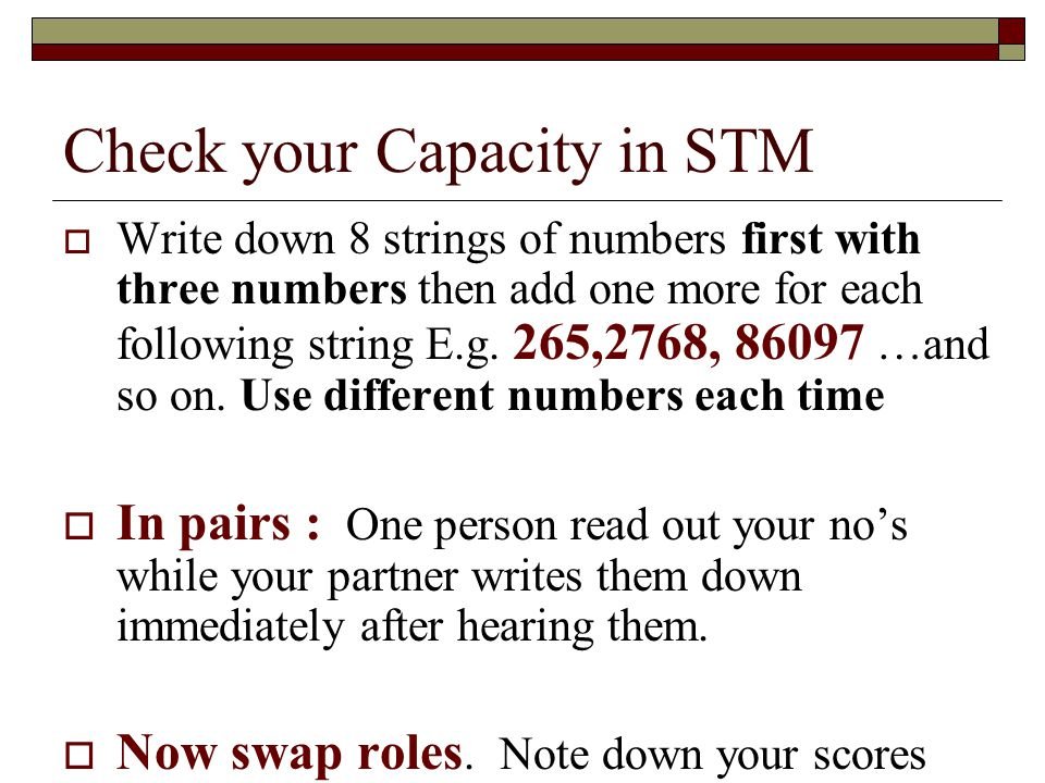 Check your Capacity in STM