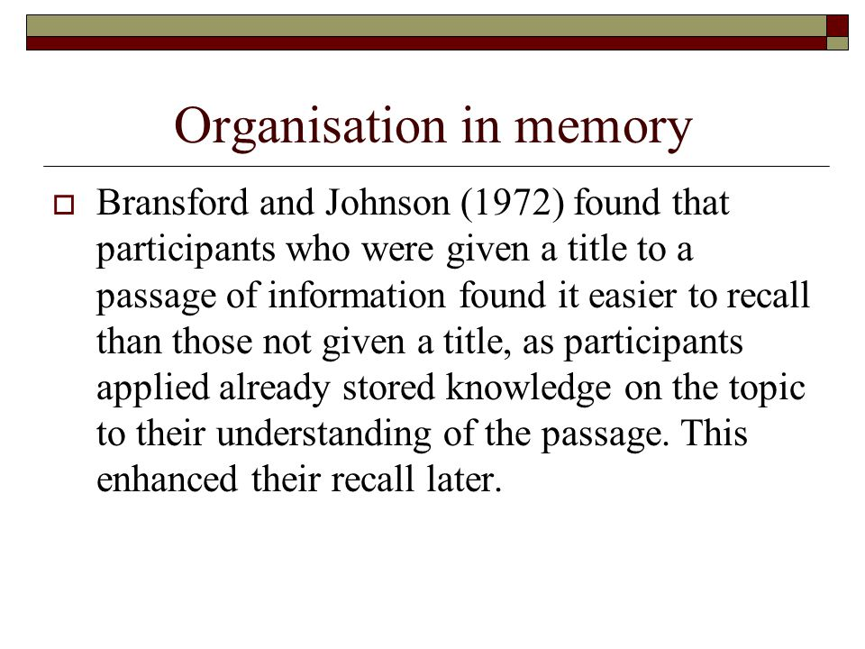 Organisation in memory