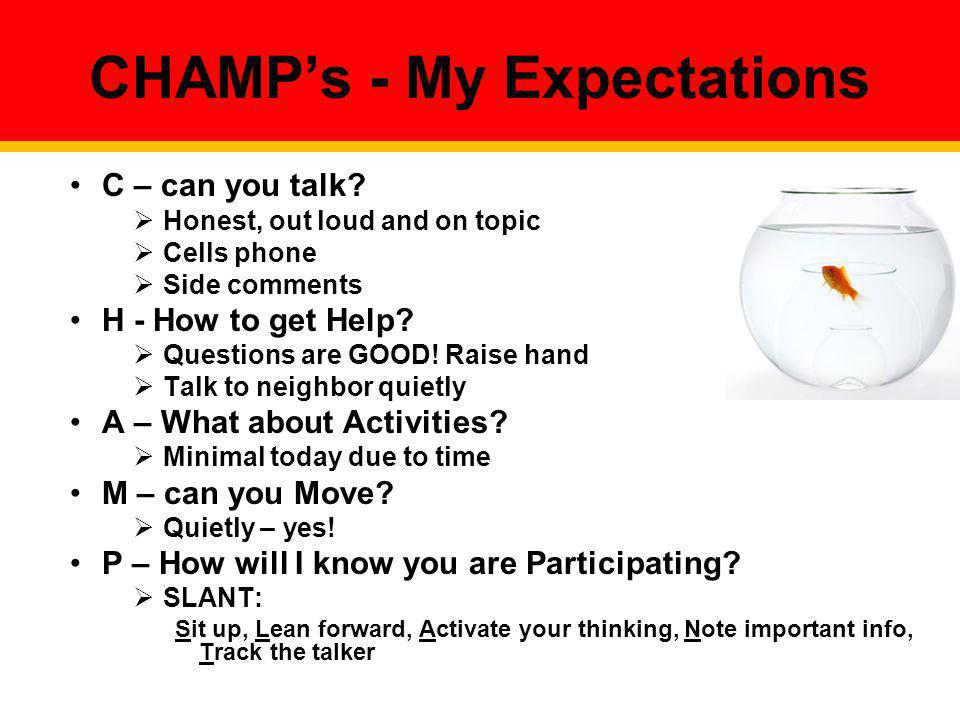 CHAMP's - My Expectations