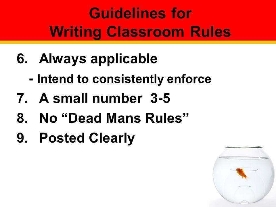 Guidelines for Writing Classroom Rules