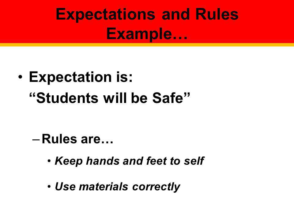 Expectations and Rules Example…