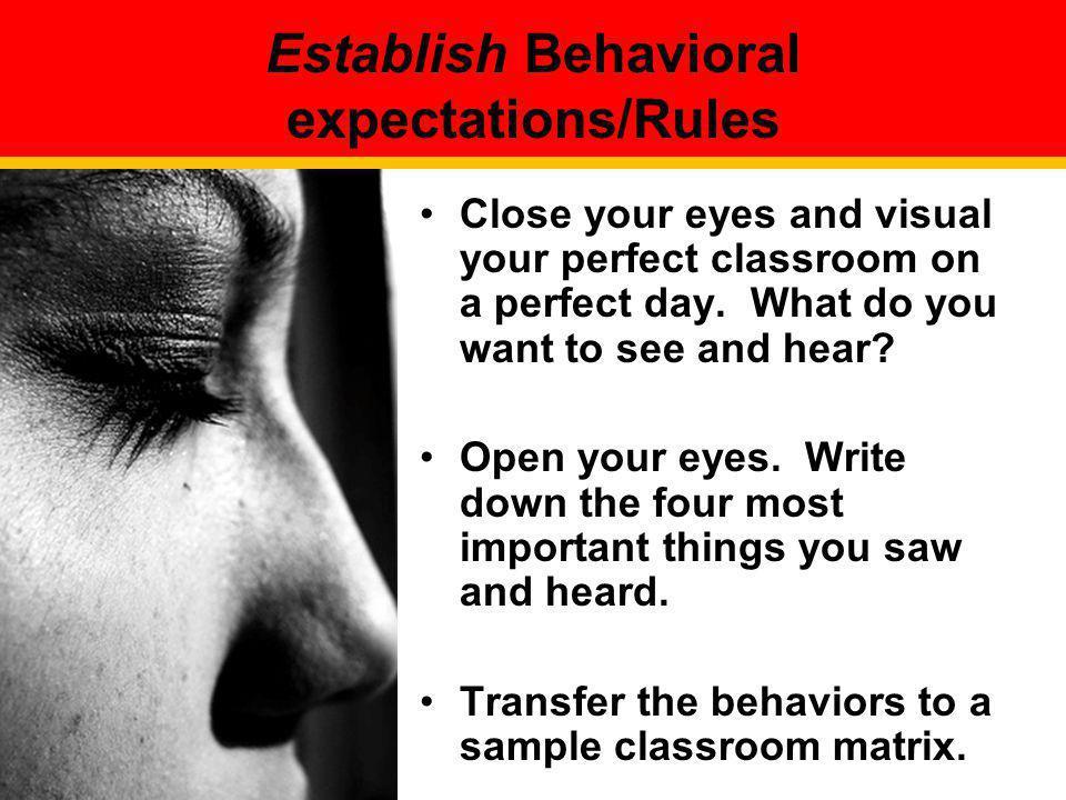 Establish Behavioral expectations/Rules