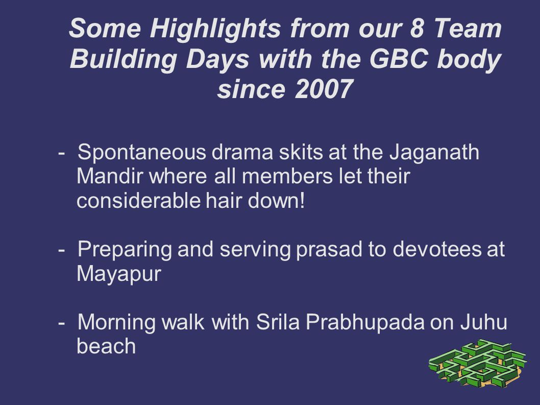 Some Highlights from our 8 Team Building Days with the GBC body since 2007