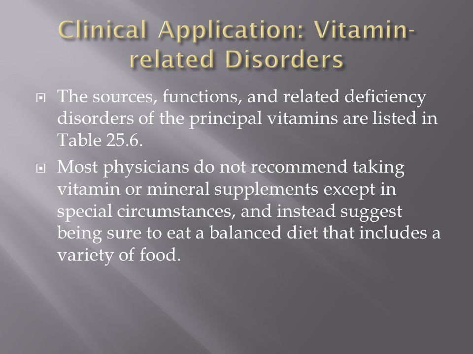 Clinical Application: Vitamin-related Disorders