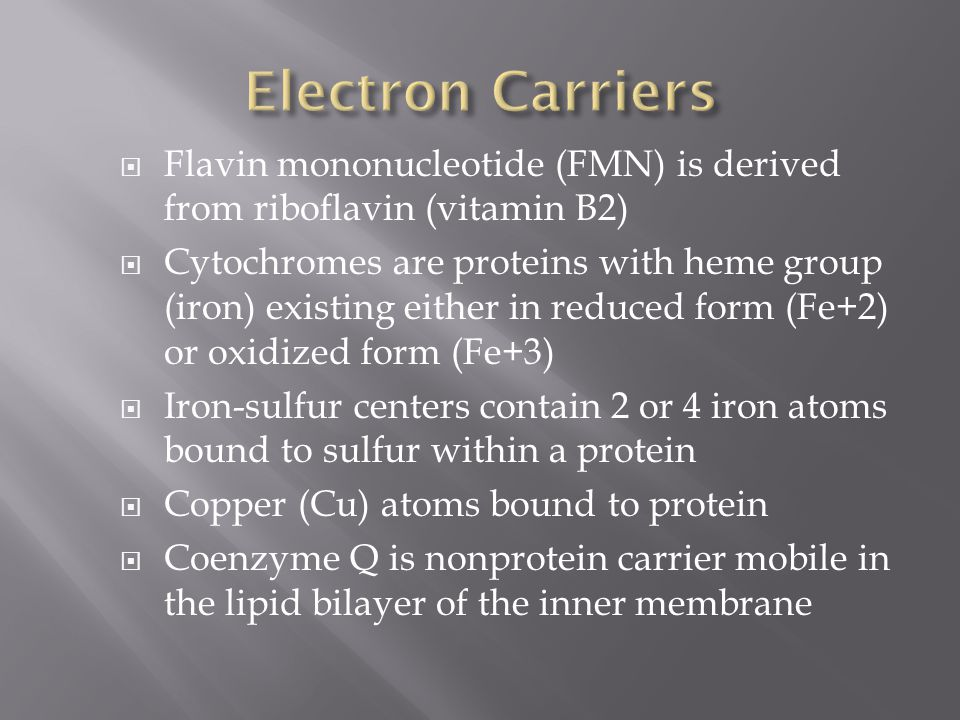 Electron Carriers Flavin mononucleotide (FMN) is derived from riboflavin (vitamin B2)